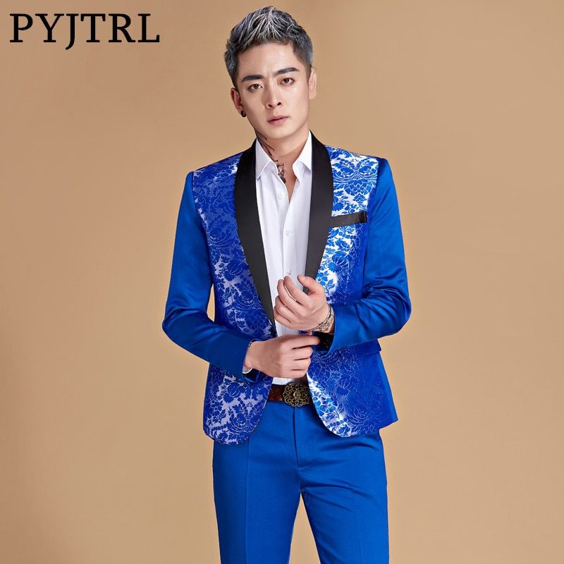 PYJTRL Men Shawl Lapel Chinese Style Royal Blue Gold Red Dragon Print Suits Latest Coat Pant Designs Stage Singer Wear Costume