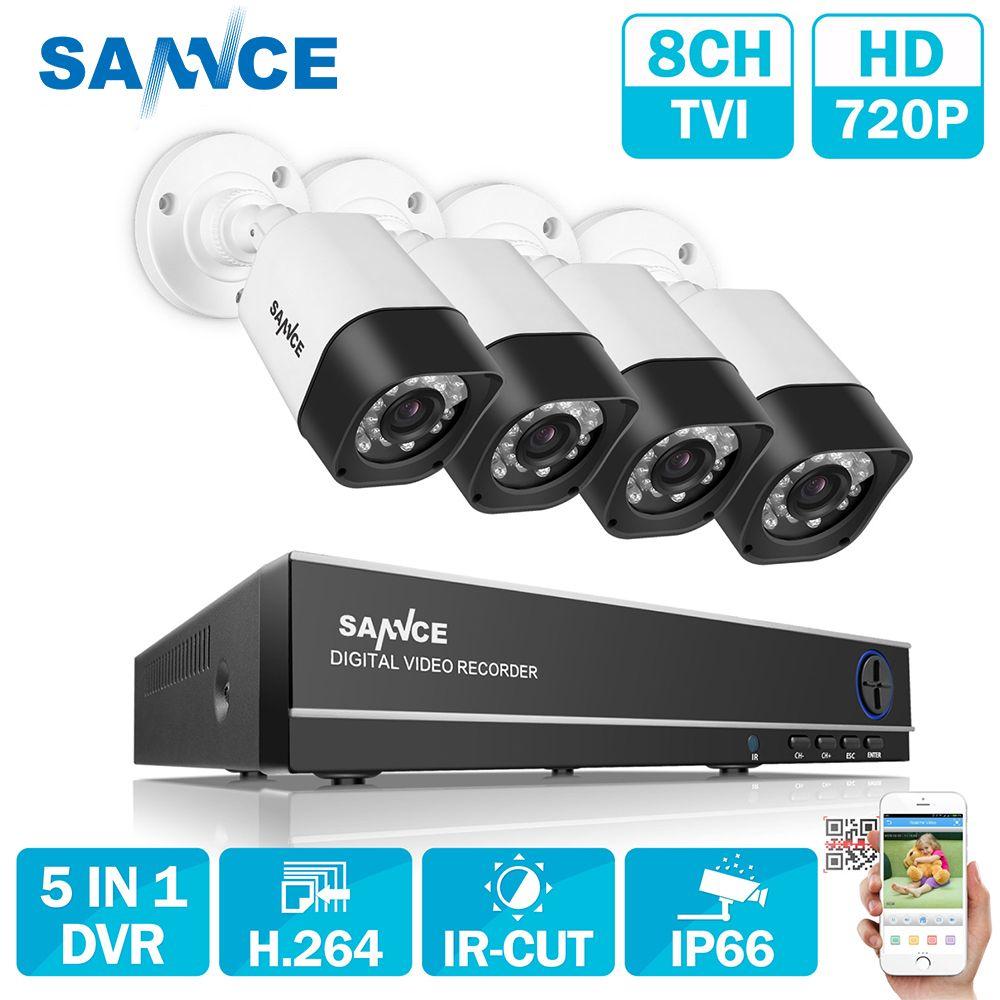 SANNCE 8CH AHD 5 DANS 1 Sécurité DVR Système HDMI 1280*720 1200TVL AHD Extérieure Résistant Aux Intempéries CCTV Caméra 1.0MP AHD Kit de Surveillance