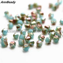 100 stücke Blau Goldene Farbe 4mm Bicone Kristallperlen Glasperlen Lose Distanzscheibe Korne DIY Schmuck Machen Österreich Kristall perlen