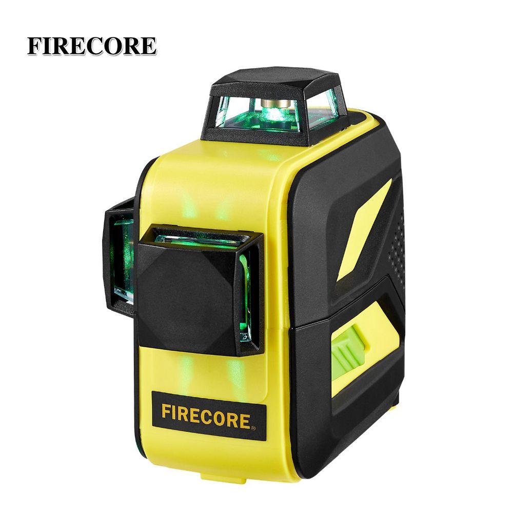 FIRECORE F93T-XG 12 lignes 3D vert niveau Laser LR6/batterie au Lithium auto-nivelant les lignes transversales horizontales et verticales peuvent utiliser le récepteur