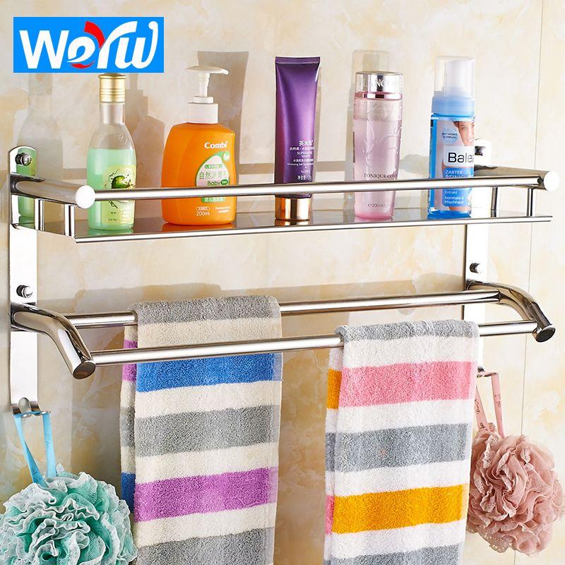 WEYUU Bathroom Shelves Stainless Steel 2-3 Tier Storage Basket Bathroom Towel Rack Soap Dish Shampoo Rack Wall Shower Rack Hook