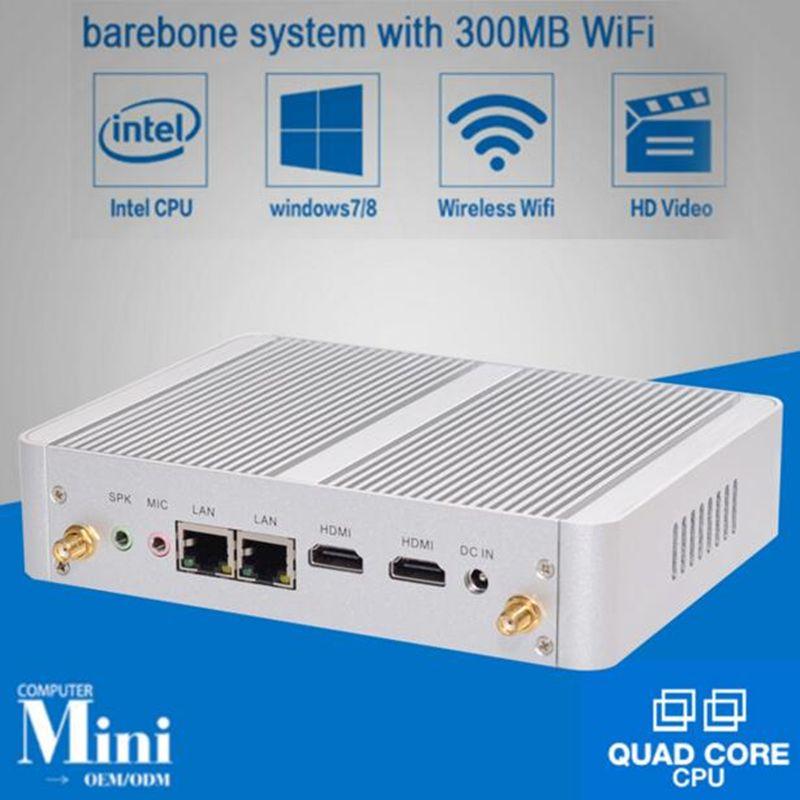 Eglobal Nuc Fanless Mini PC Windows 10 Linux Barebone Computer Intel N3150 Quad Core Max 2.08GHz 2*Lans VGA HDMI TV Box HTPC