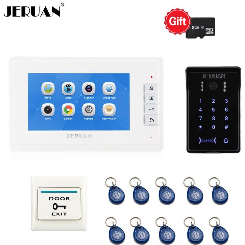JERUAN 7 zoll LCD video-türsprech Video/Sprachaufnahme Türklingel Intercom System kit Wasserdichte passwort Zugang Kamera 1V1