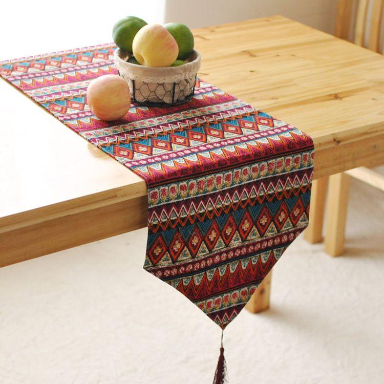 Sud-est Asiatique style double chemin de table bureau drapeau lit table et textile de maison tissu Article Original