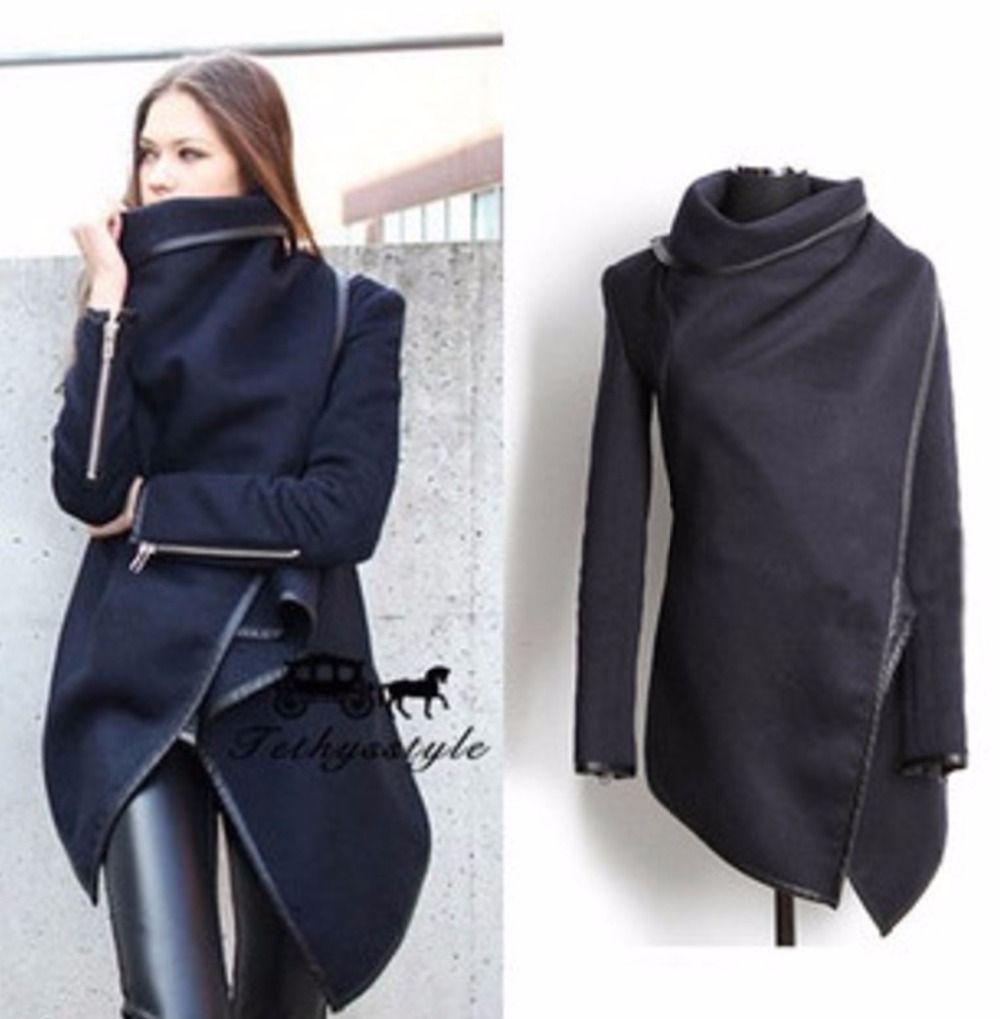 Mujer de la alta calidad delgada irregular abrigo de lana elegante delgado de manga larga con cremallera abrigos de invierno multicolor outwear de largo Más El tamaño