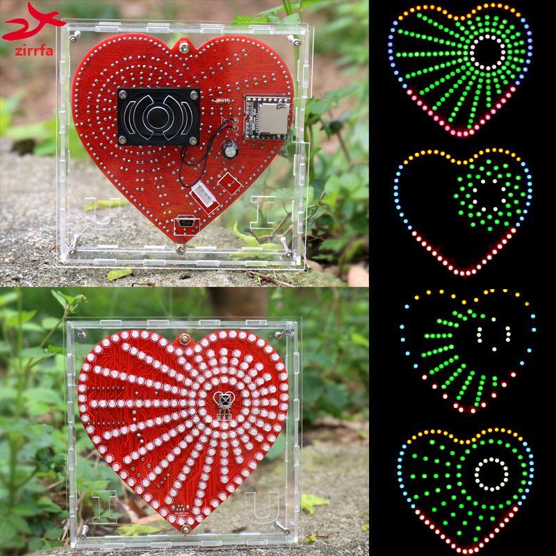 Zirrfa nouveau lecteur de musique mp3 en forme de coeur lumières cubeed, kit de spectre de musique, kit de bricolage électronique led