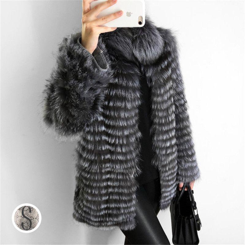 FURSARCAR NEW Real Fur Coat Women Jacket With Fur Collar For Female Fashion Winter Natural Silver Fox Fur Coat Real Fur
