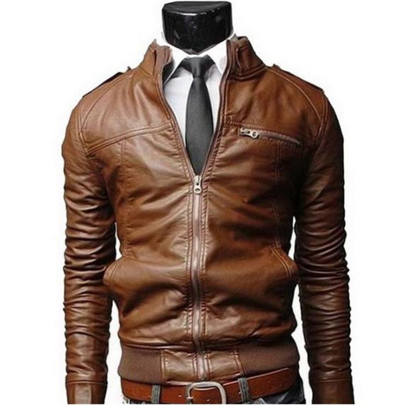 New Arrival PU Leather Jacket Men Long Stand Collar Solid Color Jackets Coats Men's Leather Jackets Men's Clothing