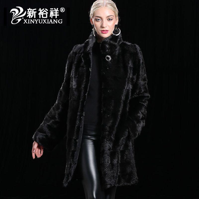 XINYUXIANG 2018 100% Real Mink Fur Coat Women Removable hem Long sleeve Jackets Female Natural winter warm Coats Customize 19N2