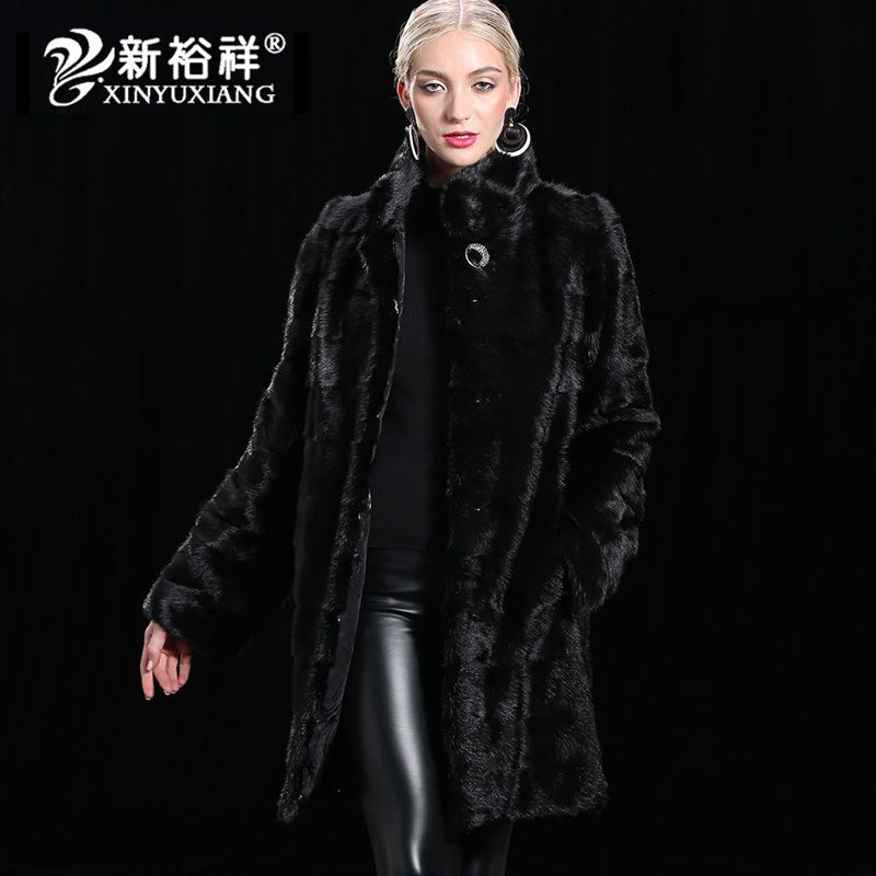 XINYUXIANG 2018 100% Real Mink Fur Coat Women Removable hem Long sleeve Jackets Female Natural winter warm Coats Customize 19N2