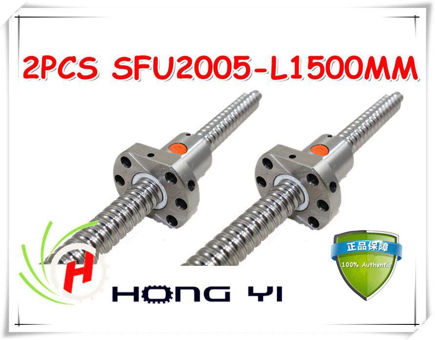 2 stücke SFU2005 1500mm Gerollte kugelumlaufspindel + 2 stücke RM2005 kugelmutter + endenbearbeitung für BK/BF15 standard verarbeitung