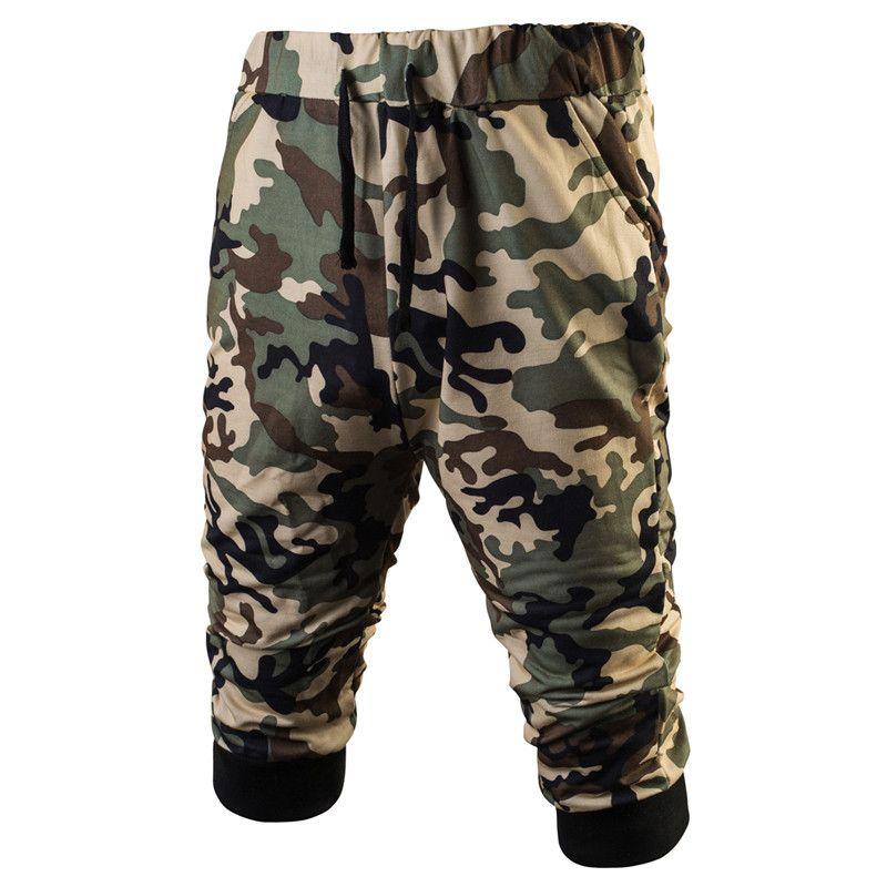 Mens Militar camuflaje Pantalones cortos 2017 verano bodybuilding sweat Pantalones cortos ejército CAMO casual mama Pantalones cortos harem Capri baggy tablero Pantalones cortos