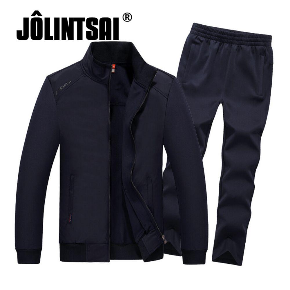 Jolintsai 2017 Для мужчин бренд костюмы комплект куртка + Брюки для девочек спортивные костюм плюс Размеры 4XL 5XL 6XL 7XL 8XL Фитнес костюмы