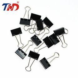 THD 12 Pcs 15/19/25/32mm Noir Métal Liant Clips Notes Lettre Papier Clip Bureau fournitures Contraignant La Sécurisation Papeterie Accessoires