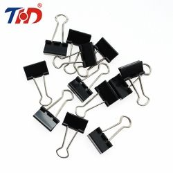 THD 12Pcs 15/19/25/32mm Black Metal Binder Clips Notes Letter Paper Clip Office Supplies Binding Securing Stationery Accessories