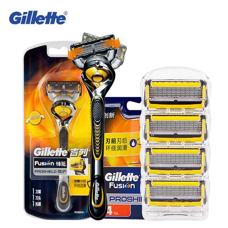 Gillette Fusion Proshield shaving razor shaver blades for Men Brands Safety Razors beard shave Hair removal 1 Handle + 5 Blades