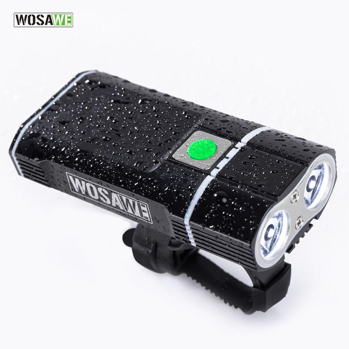 Lampe de vélo WOSAWE 2400 Lumens avec 18650 piles intégrées lumière de vélo Rechargeable USB lampe de poche 2-xml lampe à LED 5 modes