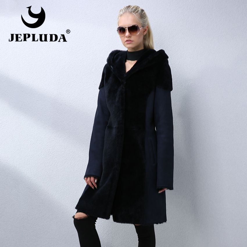 JEPLUDA Winter Real Fur Coat Women New Fashion Long Coat Real Natural Sheep Shearing Fur Jacket Luxury Women Lamb Fur Coats