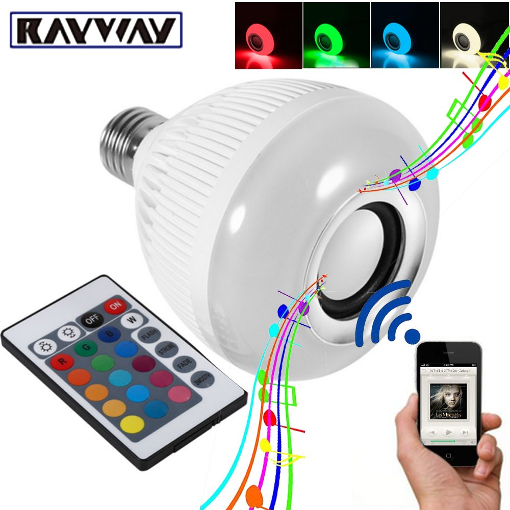 RAYWAY Smart <font><b>RGBW</b></font> Wireless Bluetooth Speaker Bulb Xmas Music Playing Dimmable 12W E27 LED Bulb Light Lamp 24 Keys Remote Control