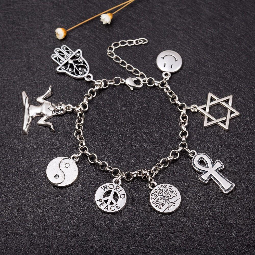 Angelhaken Welt Frieden Koexistieren David Stern Baum des lebens Hamsa Kreuz Yinyang Buddha Religionen Charme Armband Schmuck
