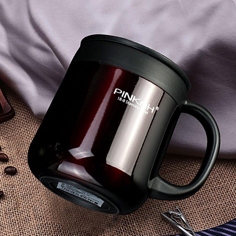 Pinkah 400 ML 304 thermos en acier inoxydable Tasses Bureau Tasse avec poignée Avec Couvercle Isolé Thé mug thermos Tasse Bureau Thermos