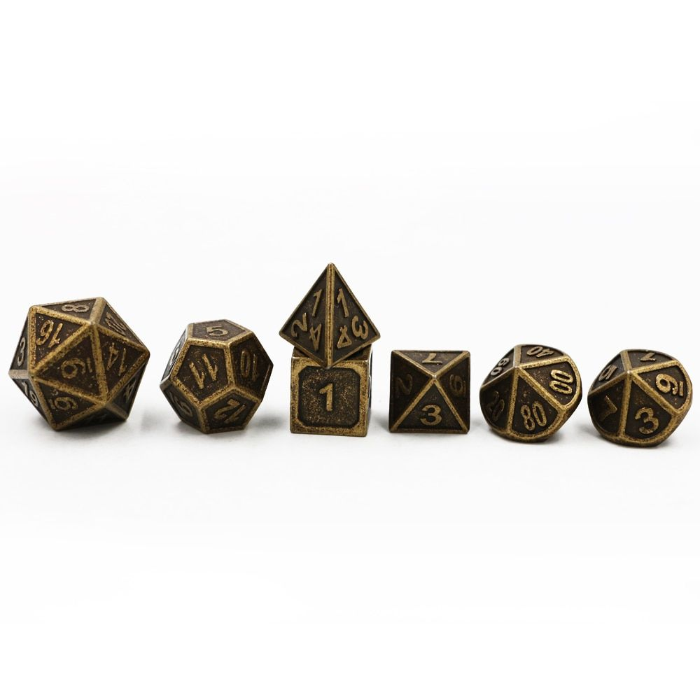 Dungeons & Dragons 7pcs/set Creative RPG Dice D&D Metal Dice DND Game Dice Different Color Bronze Copper Carving Numbers