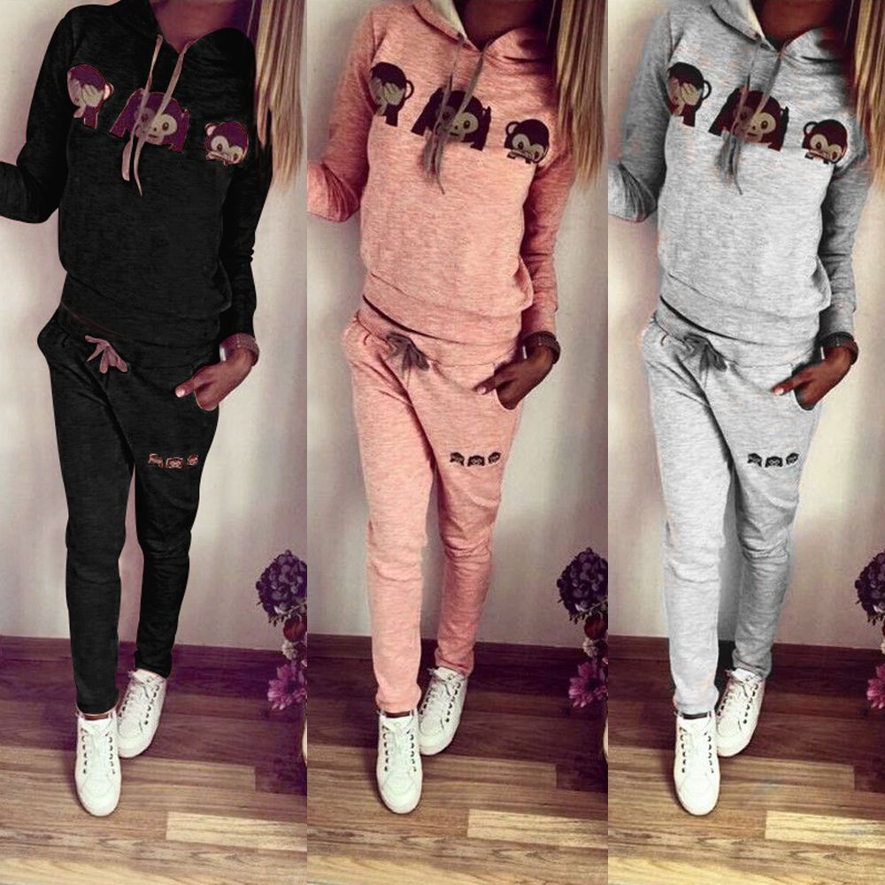 2Pcs New Fashion Women Monkey Tracksuit Hoodie Pants Sweats Sweatshirt suit Casual Womens Long Sleeve Sweatshirts Long Pants
