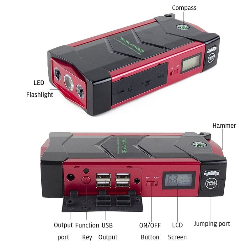 JKCOVER Emergency 12V Car Battery Jump Starter Booster 66600mWh Power Bank 600A Peak Current Multi-function Car Jump Starter