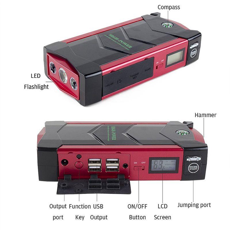 JKCOVER Emergency 12V Car Battery Jump Starter Booster 66600mWh Power Bank 600A Peak Current Multi-function Car Jump Starter