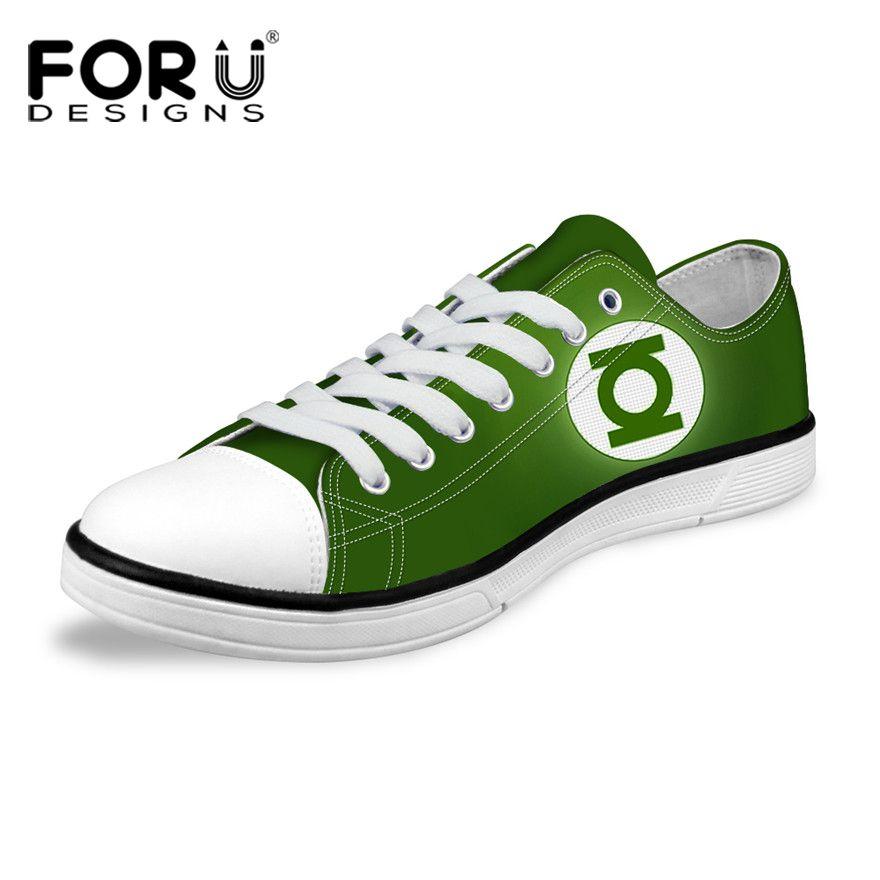 FORUDESIGNS Classique Haute et Low Top Toile Chaussures Pour Hommes De Mode Super Hero Green Lantern/Spiderman Casual Vulcaniser Homme chaussures