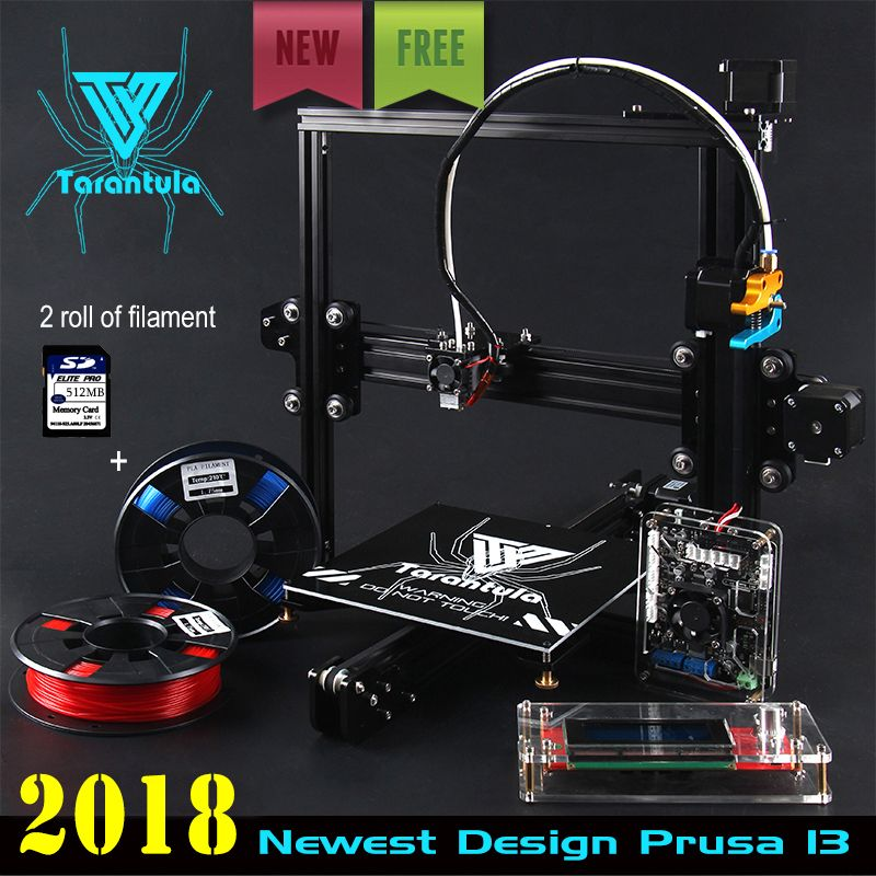2018 Newest TEVO Tarantula I3 Aluminium Extrusion 3D Printer kit printer 3d printing 2 Rolls Filament 512MB SD card LCD As Gift