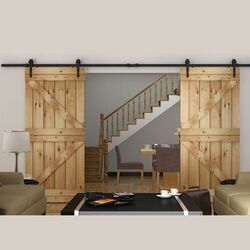 150cm/183cm/200cm/244cm/300cm/366cm/400cm  DIY Heavy duty Double Sliding Barn Door modern wooden sliding barn door hardware