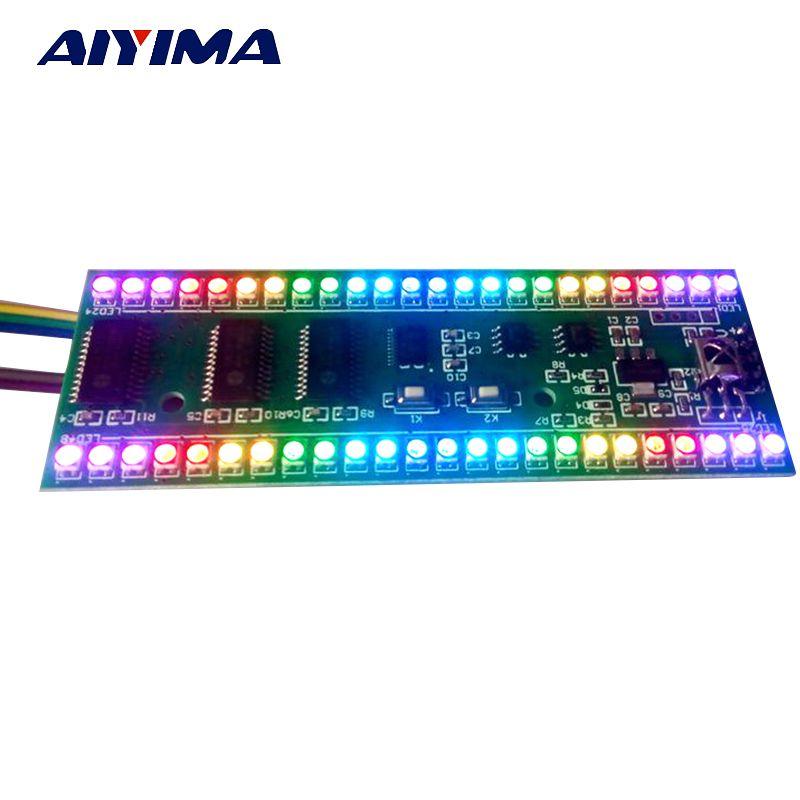 Aiyima 5 В индикатор уровня VU Meter RGB Усилители домашние доска MCU Регулируемый Дисплей узор двухканальный двойной 24 LED Усилители DIY