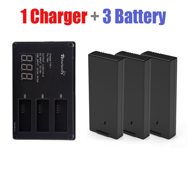 3pcs DJI Tello Drone Flight battery + Quickly Battery charger charging hub tello For DJI Tello lipo battery Accessories