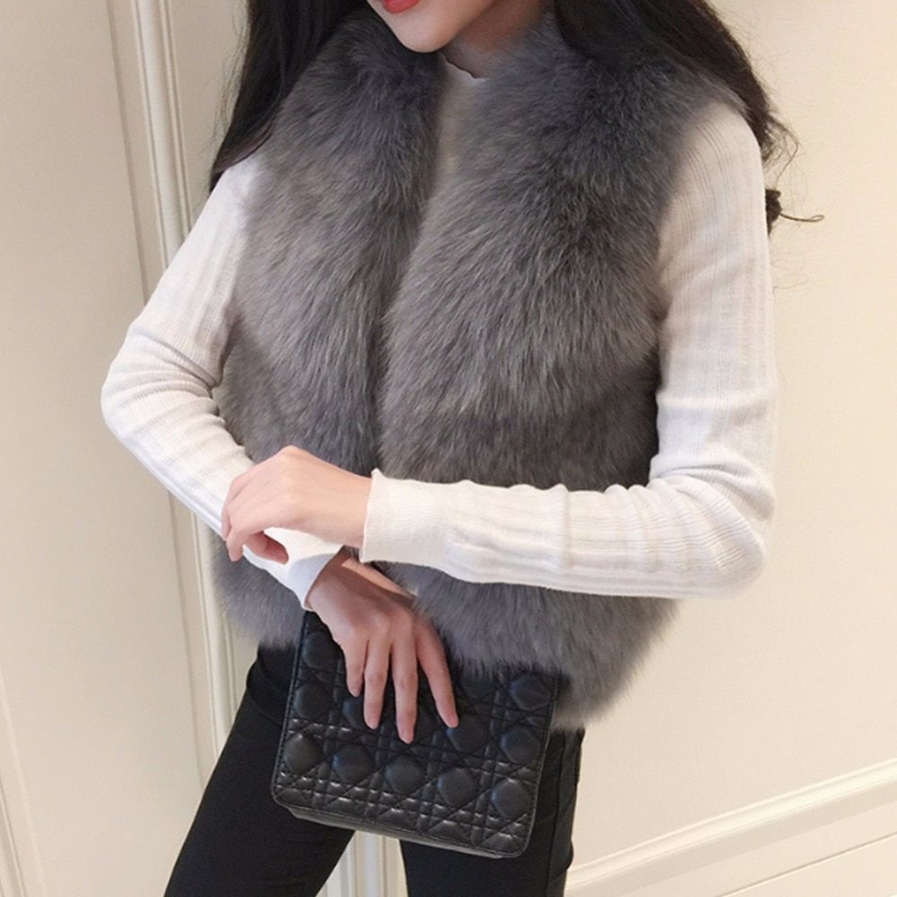 Winter Women's Thick Warm Faux Fox Fur Vest Jacket Coat Sleeveless Waistcoat Short Fur Coat Woman Gilet Vests Plus Szie 3XL Z3
