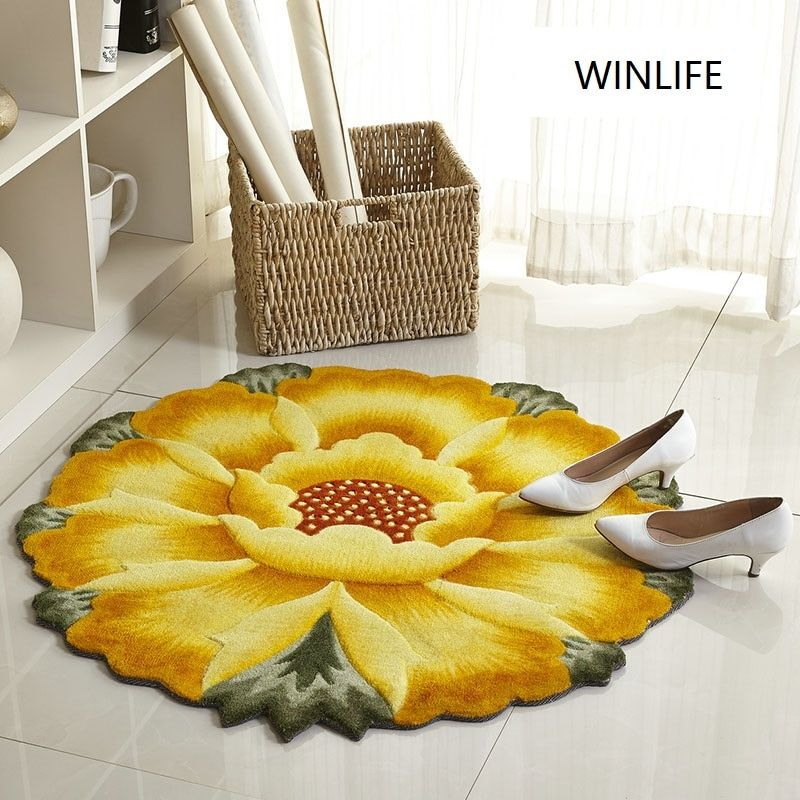 WINLIFE Rural Style Colorful Carpets Sunflower/Rose Art Round Rugs Anti-Skid Soft Mats For Living Room/Bedroom/Hotel/Yoga Play
