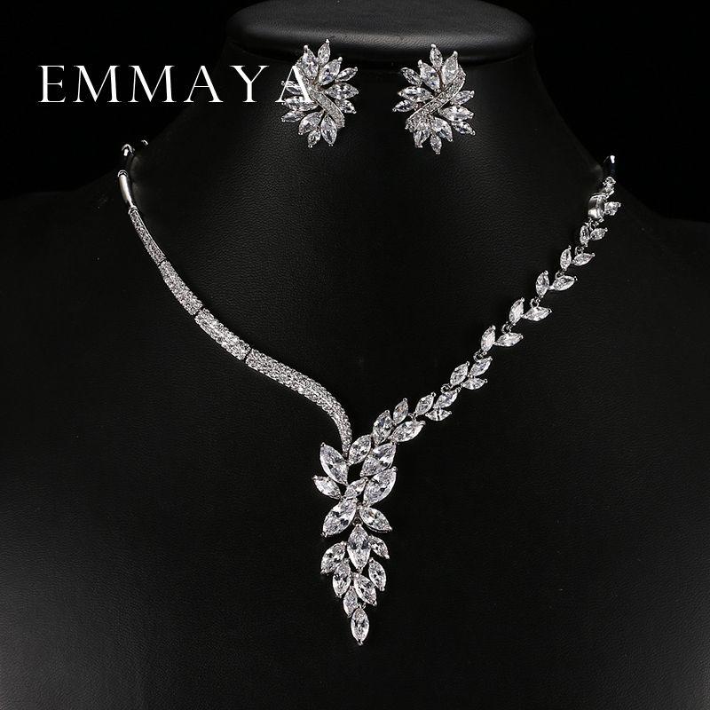 Emmaya nouvelle conception unique choker collier boucles d'oreilles ensembles de bijoux de mariée accessoires de mariage dropship
