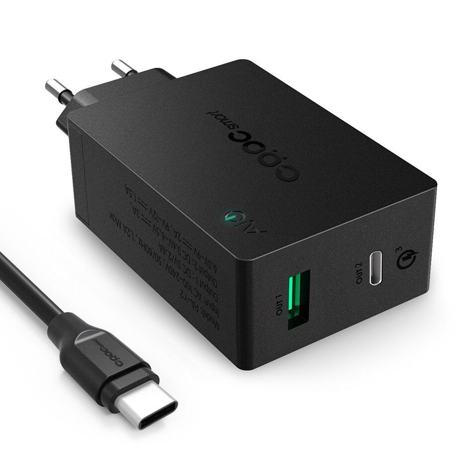 CRDC Qualcomn Quick Charge 3.0 Wall Charger EU Plug with USB-C Cable for LG G5 HTC 10 Nexus 6P Xiaomi More