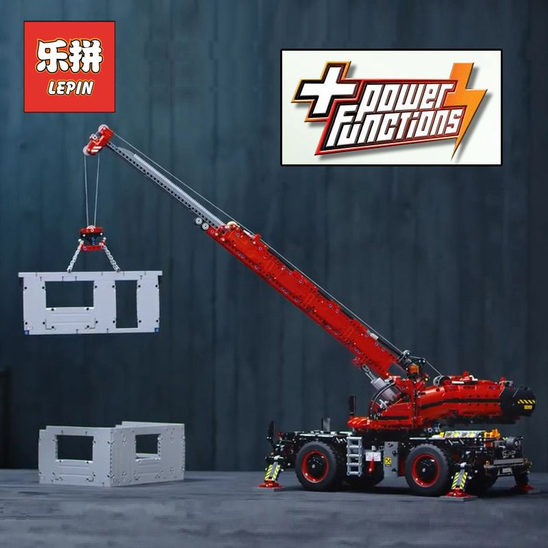 Lepin Technic 20085 City Engineering Blocks the Rough Terrain Crane Set 42082 Model Building Kits Bricks Educational Toys Gift