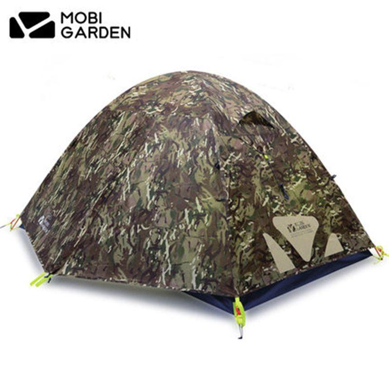 MOBI GARTEN Hohe Qualität Camo Ultraleicht zelt 2-3 Personen Doppel Schicht Aluminium Pole Camping zelt Wasserdicht Vier Saison zelt