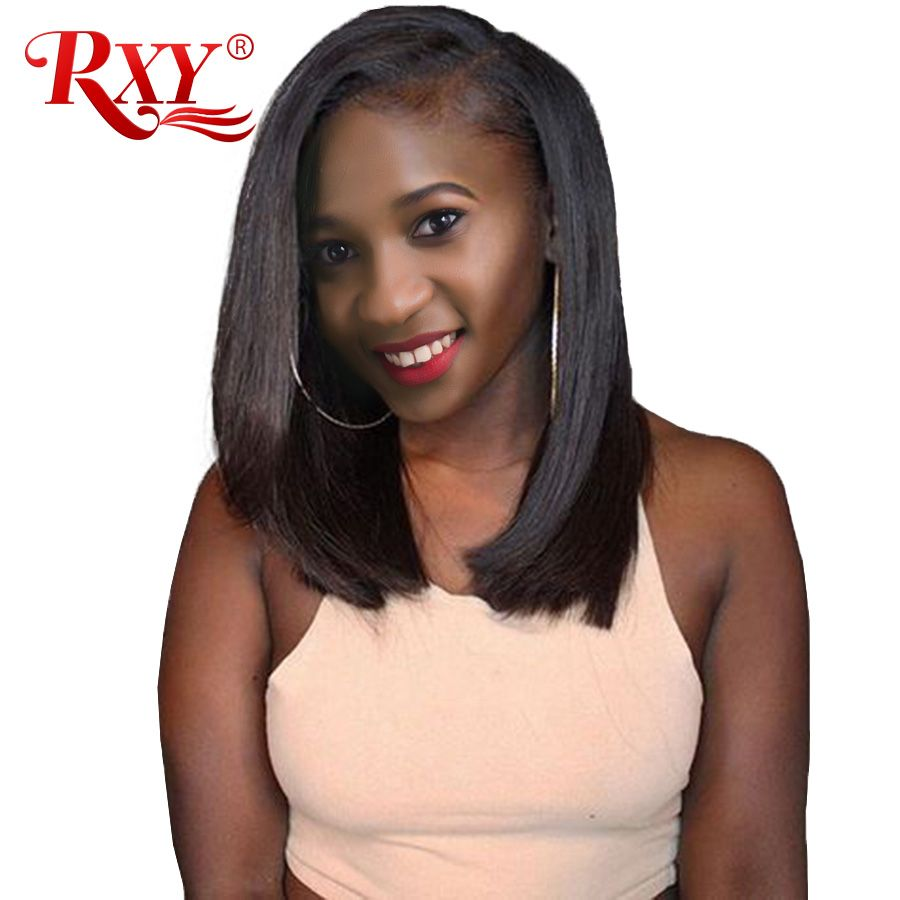 RXY Short Bob Wig Brazilian Remy Short Human Hair Wigs For Black Women 150% 12