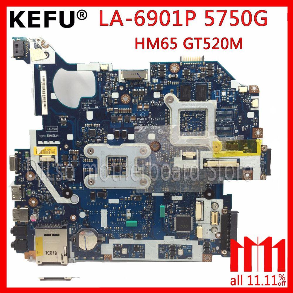 KEFU P5WE0 LA-6901P motherboard for acer 5750 5750G 5755 5755G laptop motherboard HM65 GT520M/610M original Test motherboard