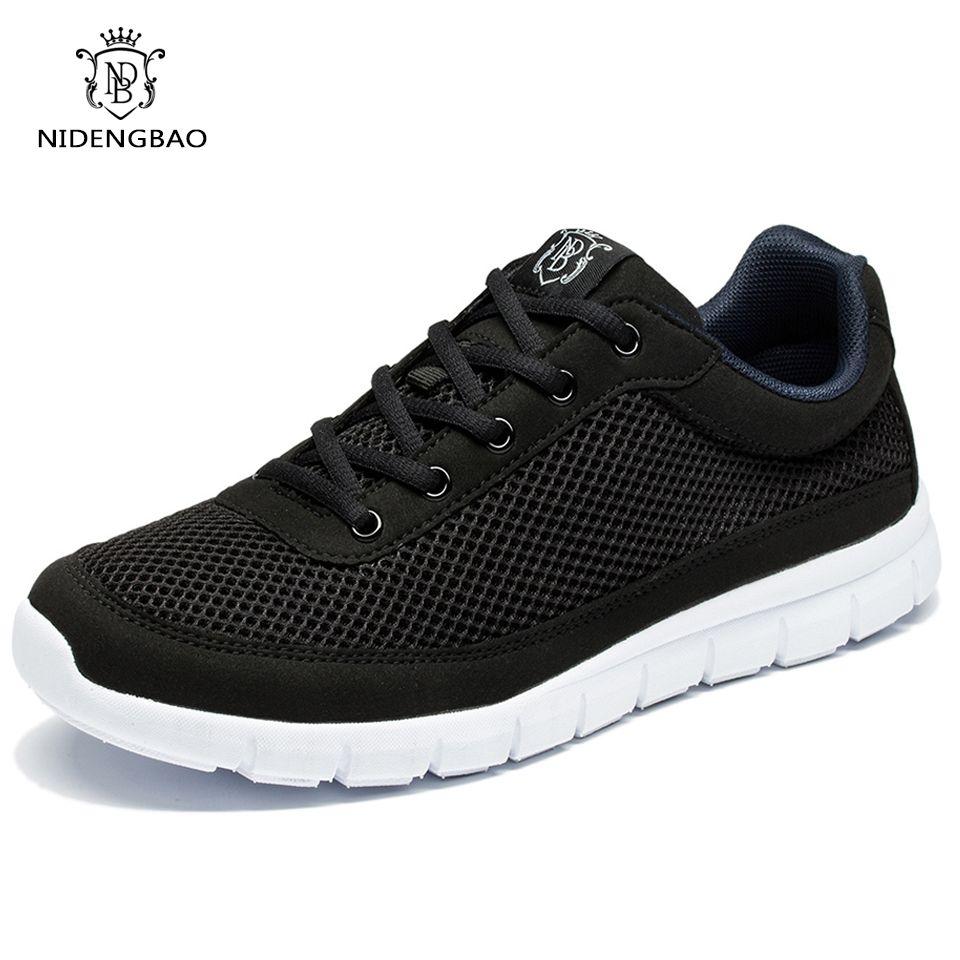 NIDENGBAO été hommes chaussures décontractées respirant maille à lacets chaussures plates léger confortable noir chaussures de marche hommes baskets