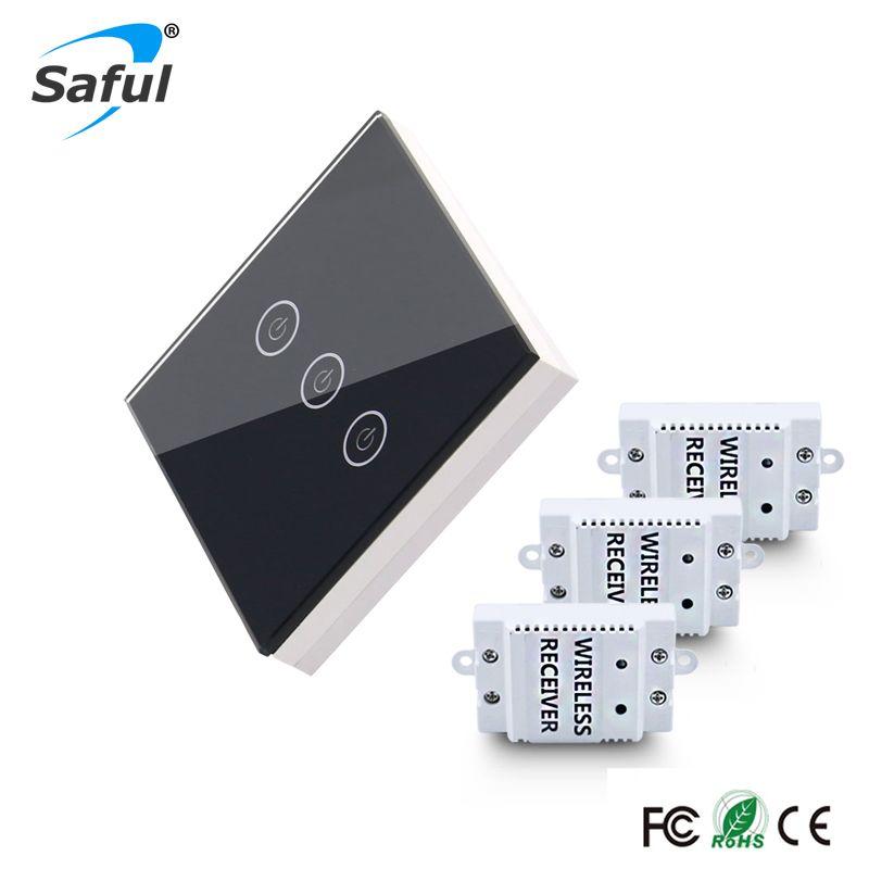 Saful étanche 12 V sans fil commutateur tactile 3 Gang 3 voies Smart maison lampe interrupteur télécommande mur lumière interrupteur livraison gratuite