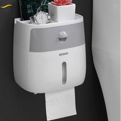 BR baño tejido impermeable de plástico de la caja de soporte de papel higiénico montado en la pared de la caja de almacenamiento de doble capa dispensador de servilletas organizador