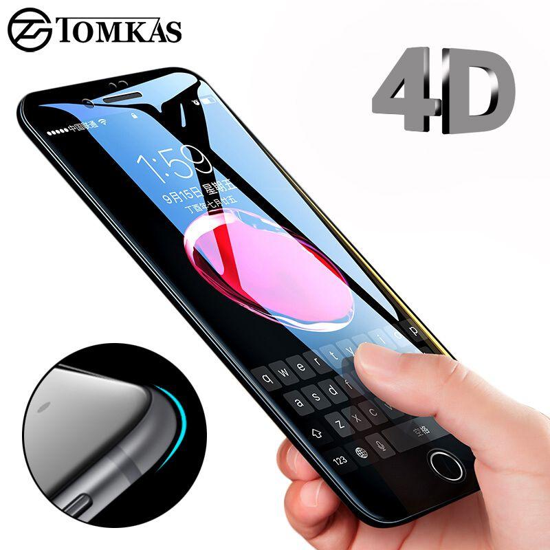 TOMKAS 4D Rand Gehärtetem Glas Für iPhone 7 8 Plus Volle abdeckung Runde Schützender Schirm-schutz Für iPhone 6 7 Plus X glas