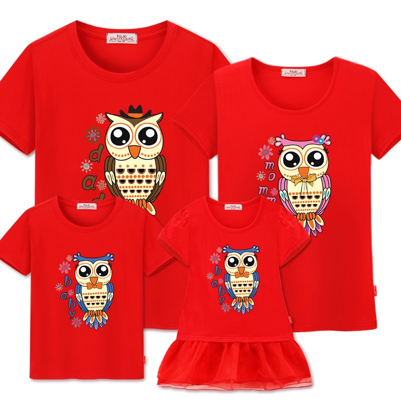Famille correspondant vêtements correspondant 2019 famille Look mère fille robe été coton t-shirt père fils tenues à manches courtes