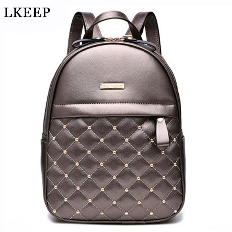 High Quality Women Backpacks 2017 Hot Sale Fashion Causal School Bags Beaded Shoulder Bag PU Leather Backpacks Female OR804231