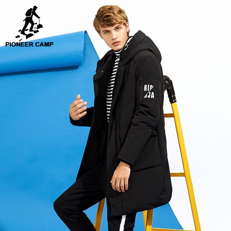 Pioneer Camp new casual long thick down jacket men brand clothing hooded winter white duck down coat male black green AYR705252