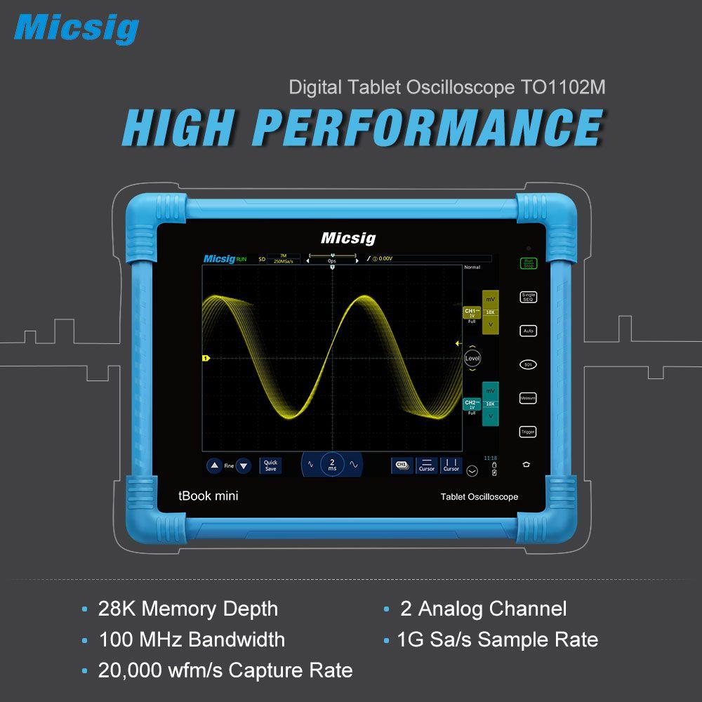 Micsig Digitale Tablet Oszilloskop 100 MHz 2CH Tragbarer Oszilloskop Automotive Scopemeter Lagerung Osciloscopio TO1102M